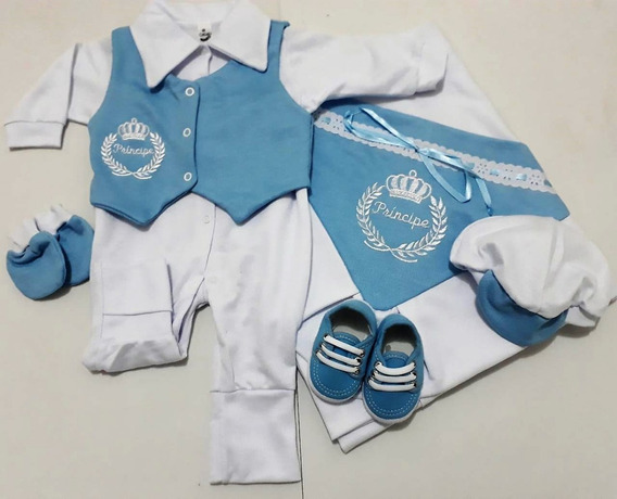 Saída Maternidade 6 Peças 100% Algodão Masculino Azul Claro