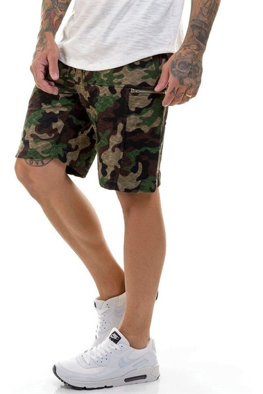 Bermuda Camuflada Moletom Premium Slim Fit Masculina Offert