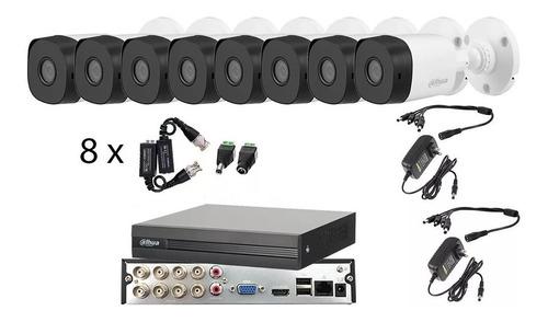 Imagen 1 de 6 de Kit Video Vigilancia 8 Cámaras 1080p Dahua Cctv Baluns