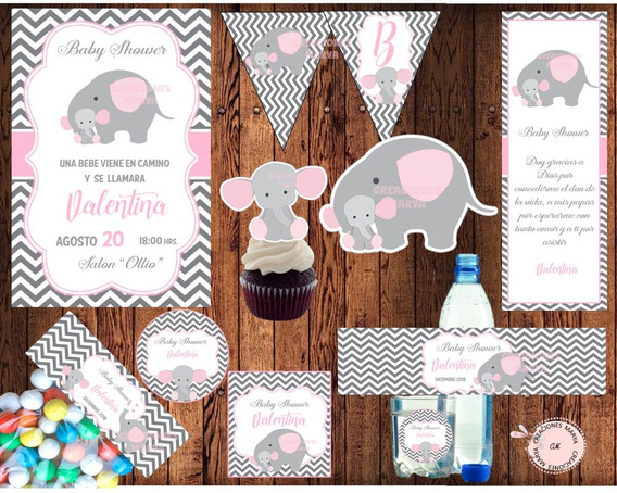 Kit Imprimible Baby Shower Elefantita Rosa