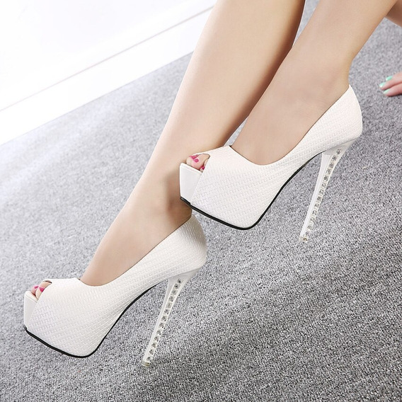 Sapato De Noiva Peep Toe Branco Pedraria (14cm)