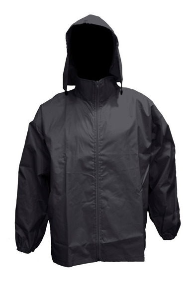 Campera Rompeviento Impermeable Liso Gris Topo