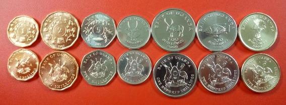 Africa Uganda Set De 7 Monedas Animales 1987 - 2008 Unc
