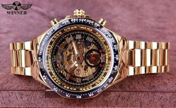 Relogio Winner Top Marca De Luxo Golden Black Original