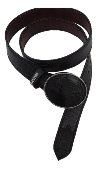 Cinturón Hombre Cuadra Piel De Pata De Avestruz Color Negro