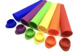 Molde De Silicona Helado Cono Con Tapa X 6 Colores!