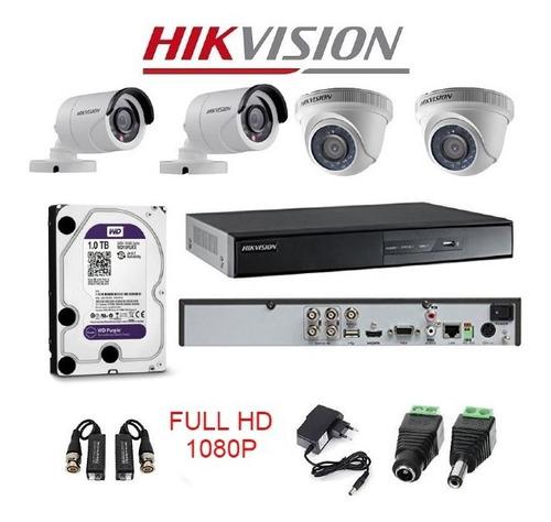 Kit De Video Vigilancia 4 Camaras Full Hd Hikvision