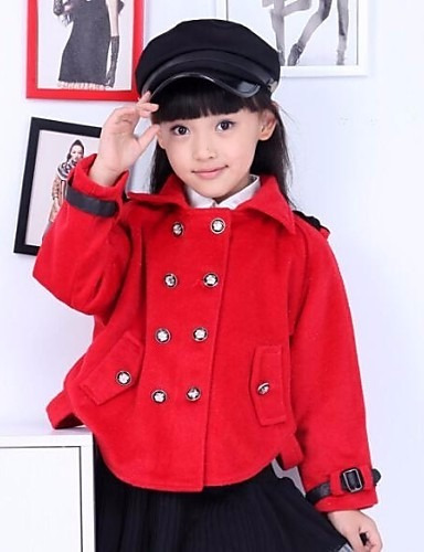 Abrigo Rojo Niña Moda Asiática