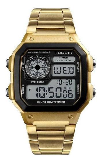 Relógio Masculino Digital Led Dourado Original Skmei 1335