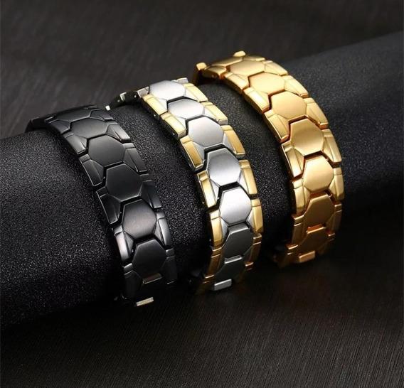 Pulseira Magnética Masculina Bracelete Titânio + Ouro 18k