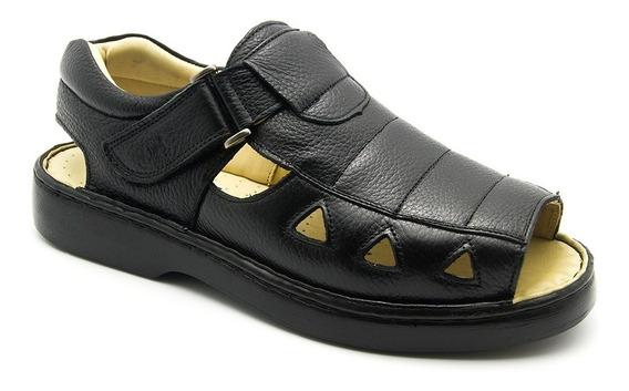 Sandália Masculina 303 Em Couro Floater Preto Doctor Shoes