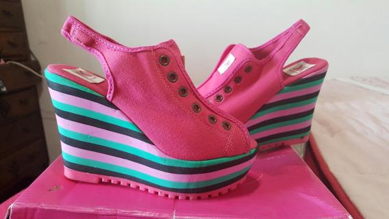 Sandalias Plataforma De Colores Tipo Zapatilla