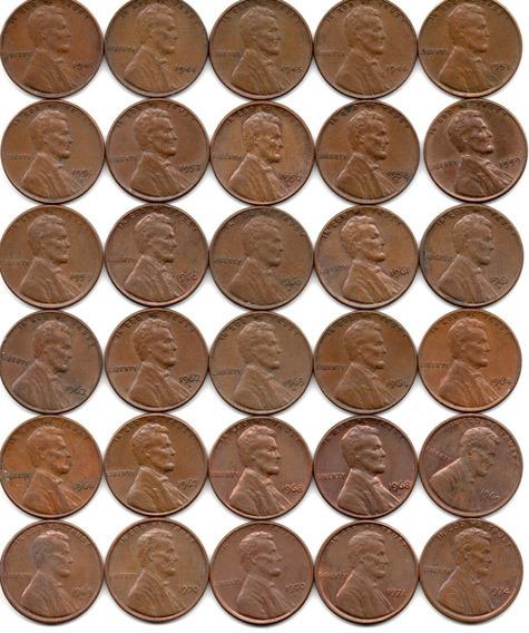 Usa Lote 30 Monedas 1 Cent Lincoln Años 1941 A 1974 Diferent