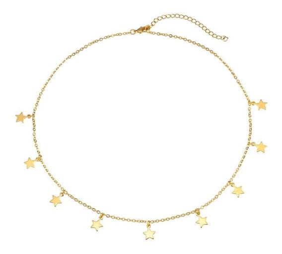 Colar Corrente Choker Dourado Com Estrelas Folheado A Ouro