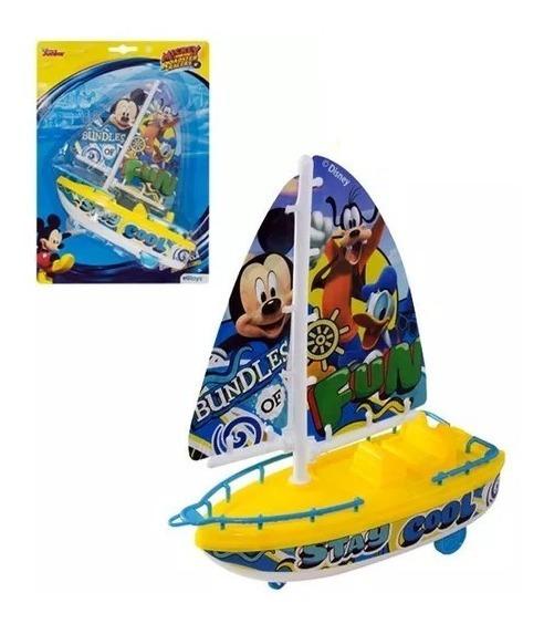 Barco Corda Mickey Junior Com Rodinhas Brinquedo