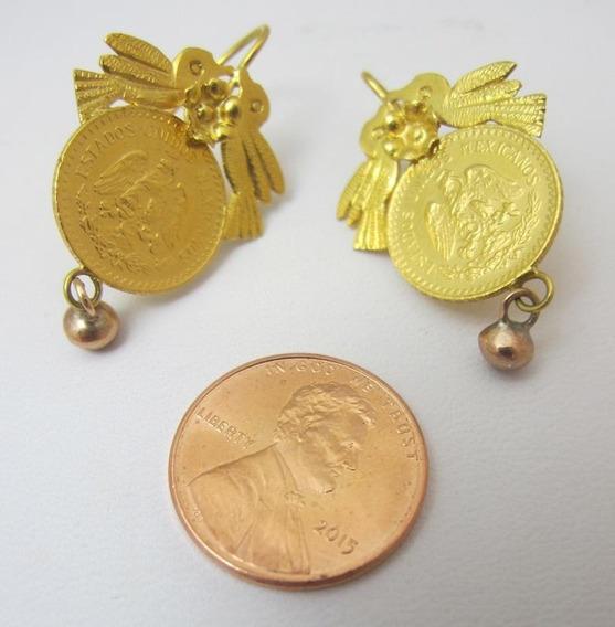 Par De Pendientes Con Monedas De Oro De 21 K Intacctas