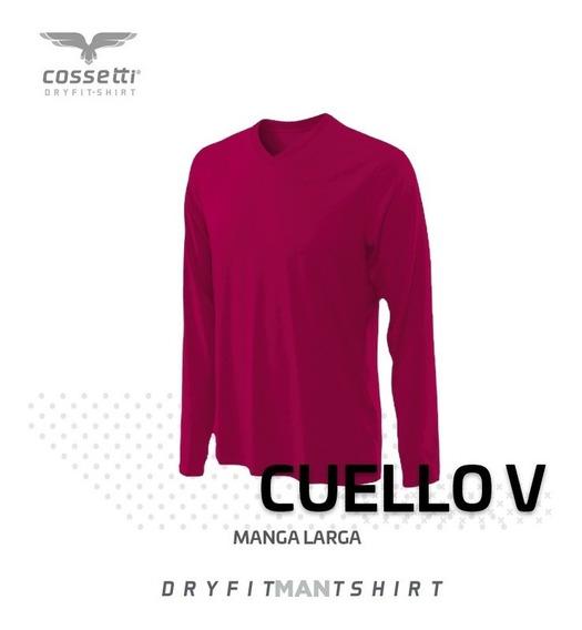 Playera Cuello V Cossetti Manga Larga Dry Fit Xl, 2xl, 3xl
