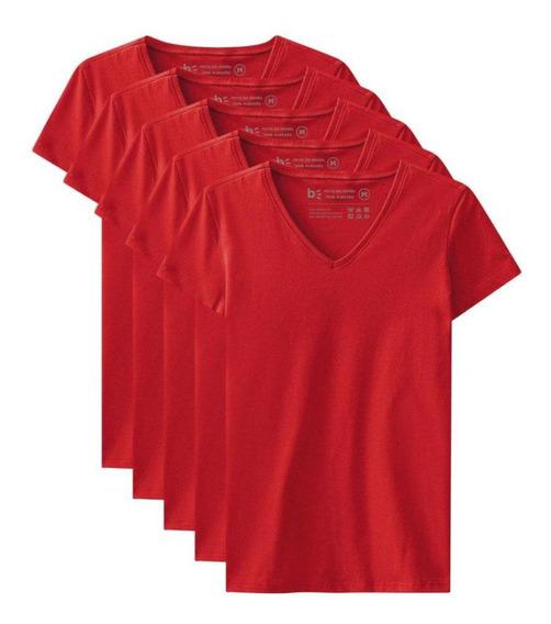 Kit De 10 Camisetas Babylook Básicas Gola V