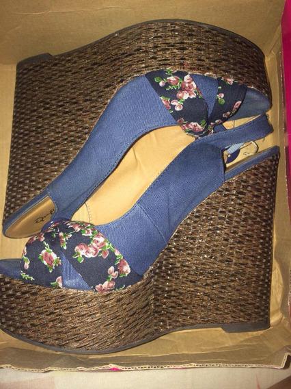 Sandalias, Zapatos De Tela Jeans Talla 37 Qupid, Bamboo