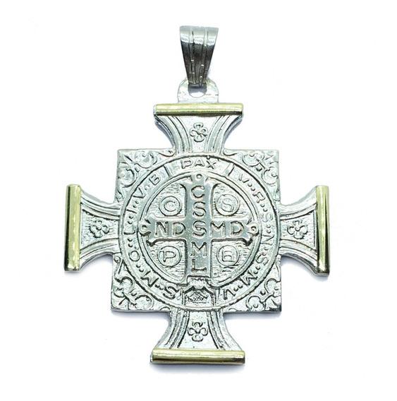 Cruz De San Benito Plata Y Oro Grande 4 Cm X 4 Cm