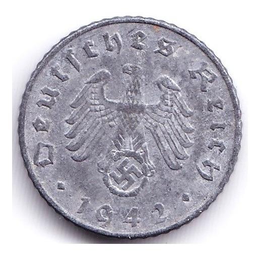 Alemania Moneda Nazi De 5 Pfennig Vf 1942 F