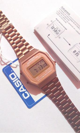 Reloj Casio A168 Rosa Mate Dama Mujer Original Rose Gold Clasico Vintage A168 Rosado Cobre