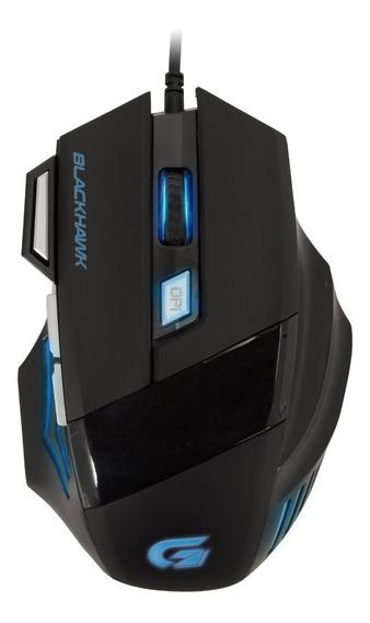 Mouse Gamer Black Hawk Om-703 Preto/azul Fortrek Gaming Usb