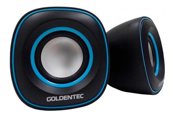 Caixa De Som 6.0w Rms 2.0 Preto/azul Goldentec Gt Sound