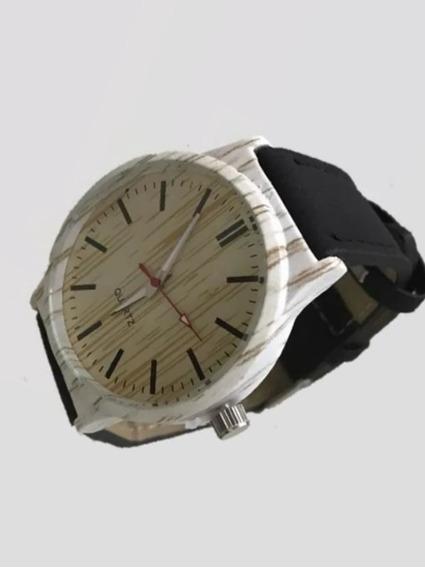 Relógio De Pulso Unissex Quartz Estilo Amadeirado