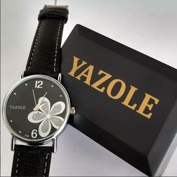 Relógio Barato Feminino Yazole Pulseira De Couro Sintético