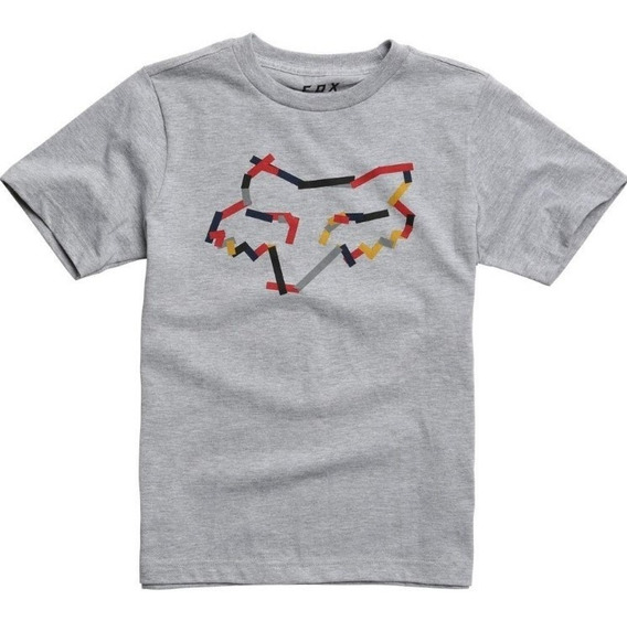 Remera Niño Fox Heretic Gris Motocross Atv Juri Atv