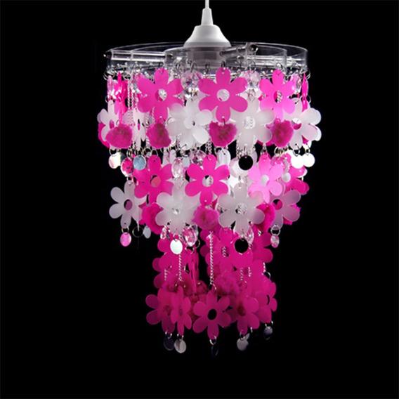 Luminária De Teto Pendente Menina Flores Lilás Rosa 25cm