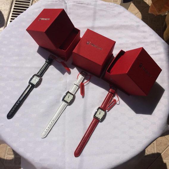 Relógios Mandaine Pulseiras Preta, Branca, Vermelha Kit C/3