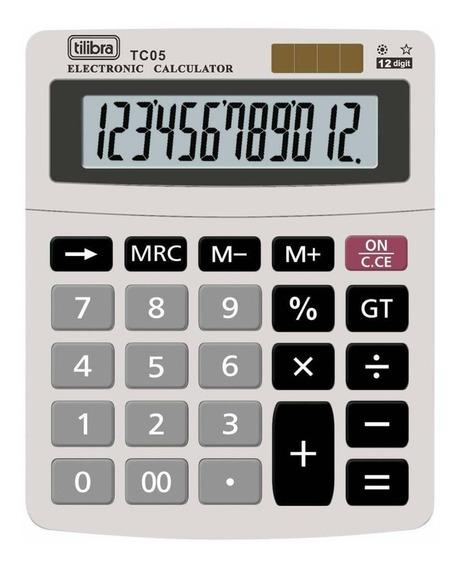 Calculadora De Mesa 12 Dígitos Tc05 Cinza 1 Un Tilibra