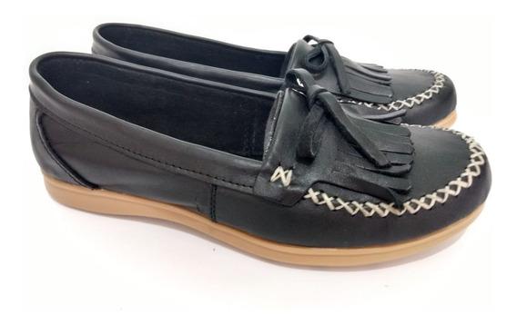 Zapato Mujer Mocasín De Cuero Con Base De Goma