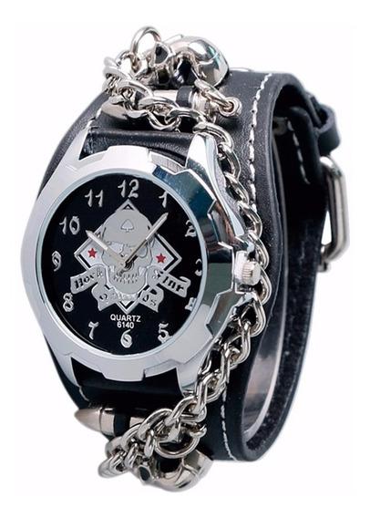 Relógio Barato Masculino Bracelete Preto Prata Punk Gothic