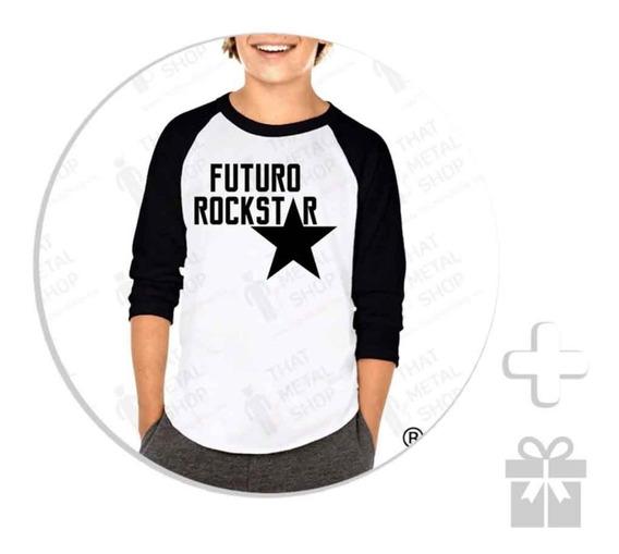 Envío Gratis Playera Raglan Para Niño Futuro Rockstar + Regalo