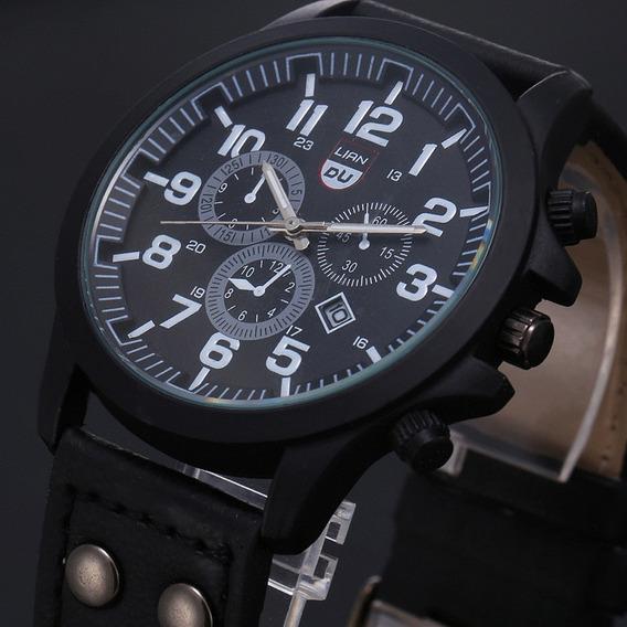 Relógio Masculino Pulseira De Couro Militar Soki Marrom