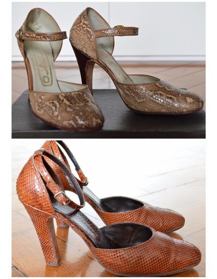 Zapatos Retro Vintage De Reptil Auténtico!! Década 70 X2