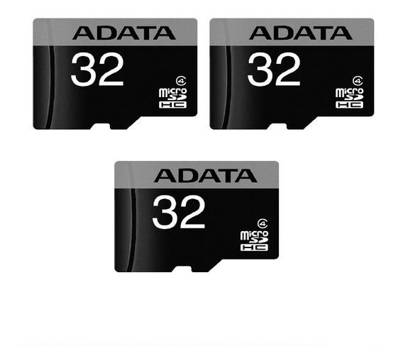 Kit C/ 03 Unid Cartão De Memória 32gb Adata Microsdhc C/adap