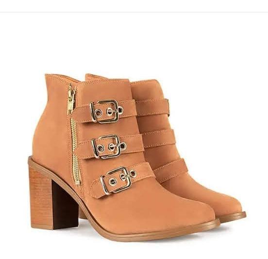 Ankle Boot Bebecê Salto Grosso Nobuck Caramelo 6228-203