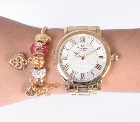 Relógio Champion Feminino Dourado Cn29936s + Kit Berloques