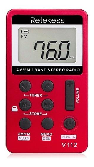 Rádio Walkman De Bolso Digital Retekess V-112 Am/fm Vermelho