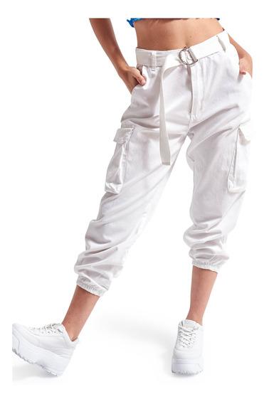 Pantalón Fame Cargo Liso Ruedo Elastizados Mujer 47street