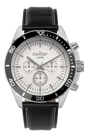 Relógio Condor Mascuilino Pulseira Couro Preta Covd54bj/3b