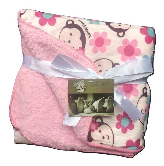Cobertor/manta Menina Macaquinha Bebê Infantil Antialérgica