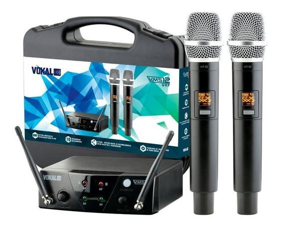 Microfone Sem Fio Vokal Vms12 Duplo