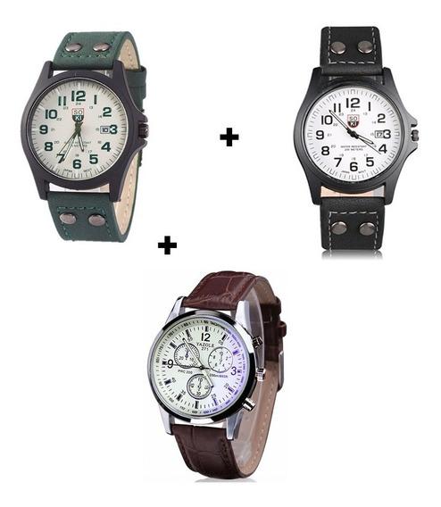 Kit Com 3 Relógios Masculinos Bonitos Com Preço De Atacado