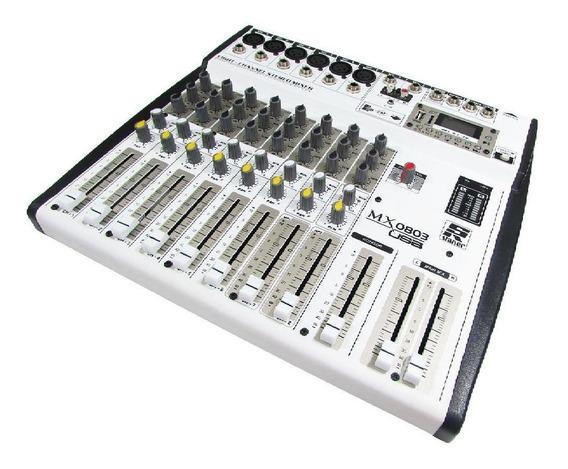 Mesa De Som Mixer 8 Canais Staner Mx0803 Usb