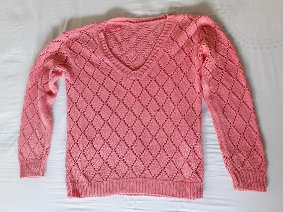 Sweater Hilo De Mujer Color Rosa Talle L